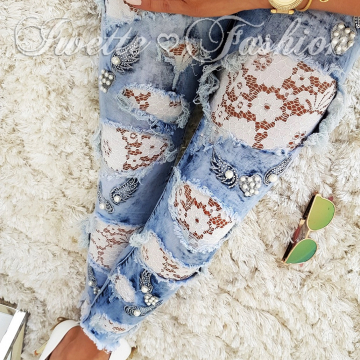 Spodnie Jeans Koronka Paris Collection  ♥