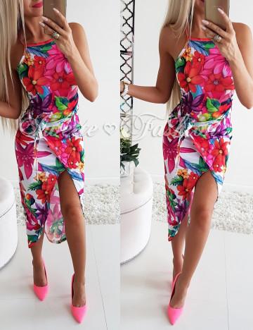 Sukienka Flowers Asymetryczna