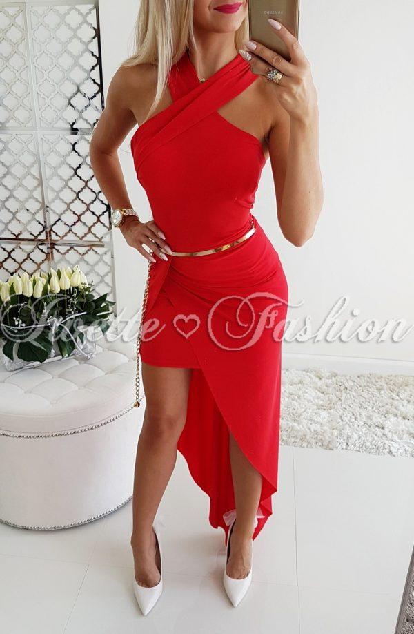 Czerwień Maxi Sukienka