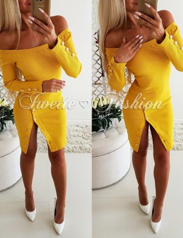 Sukienka Yellow Złote Guziki♥
