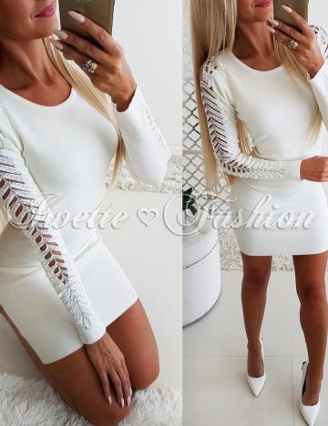 Sukienka Sweterkowa Ecru Cyrkonie ♥