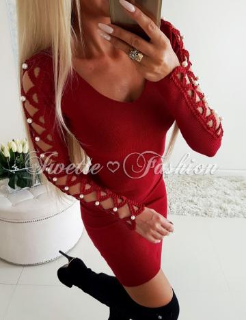 Sweterkowa Sukienka Perły BORDO