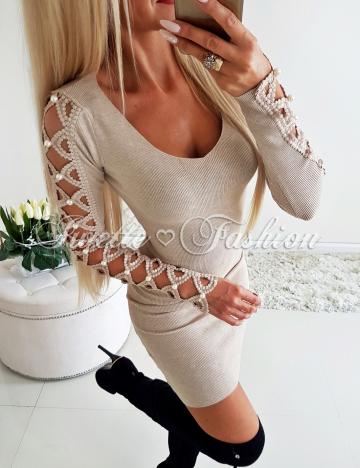 Sweterkowa Sukienka Perły BEŻ