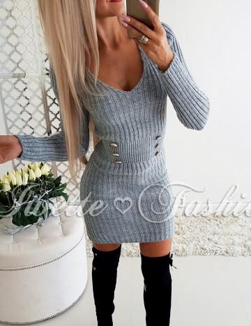 Sweterkowa Sukienka Guziki Gray