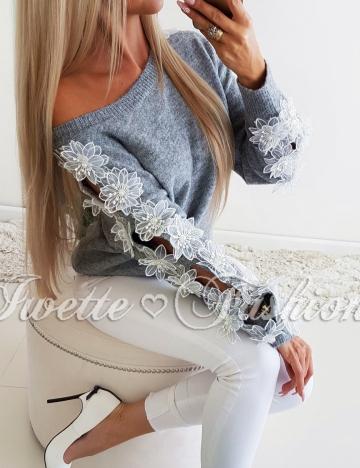 Sweter Nietoperz Flowers Gray