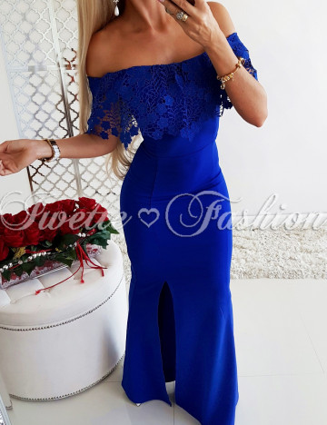 Sukienka Maxi Blue z Koronką