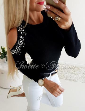 Sweterek z Cyrkoniami Czerń Wycięte Ramiona♥