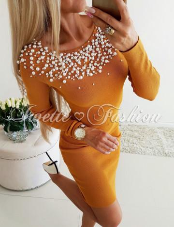 Sukienka Perełki i Cyrkonie Yellow 4 ♥