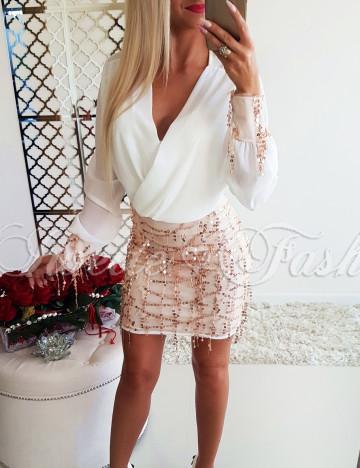 Sukienka Zwiewna Biało-Złota