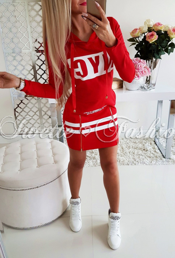 Tunika Sportowa z Kapturem ZIP Red