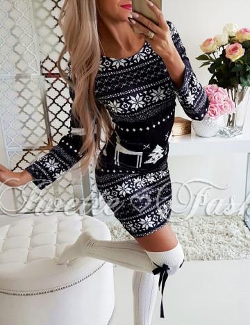 Sukienka Świąteczna Welurkowa BLACK
