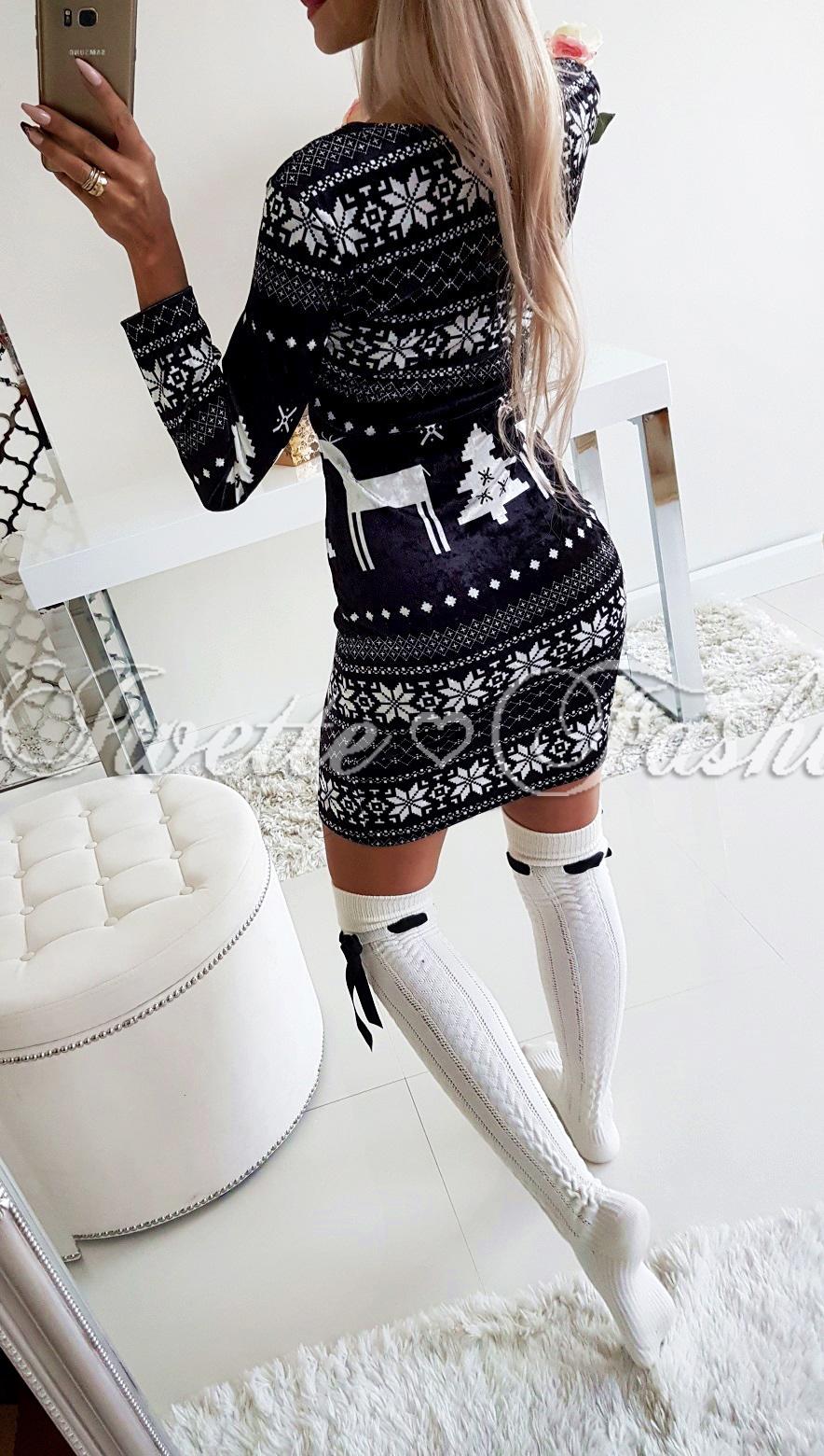 a0f6c9f6e7 Sukienka Świąteczna Welurkowa BLACK - Sukienki   Tuniki