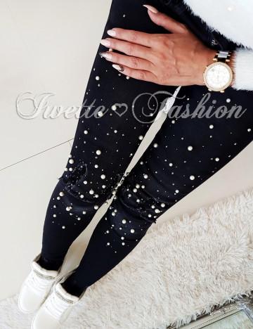 Spodnie Jeans Perełki Paris Black ♥
