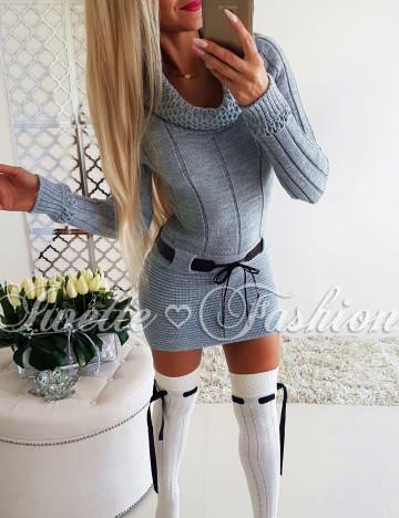 Tunika Sweterkowa z Paskiem Gray♥