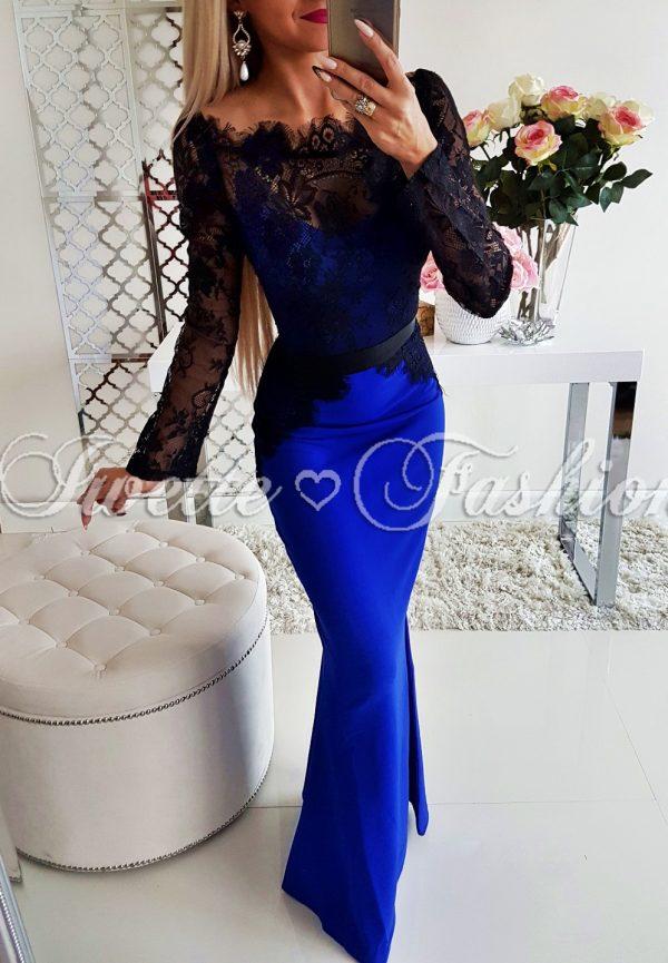 Sukienka Maxi z Koronką Blue