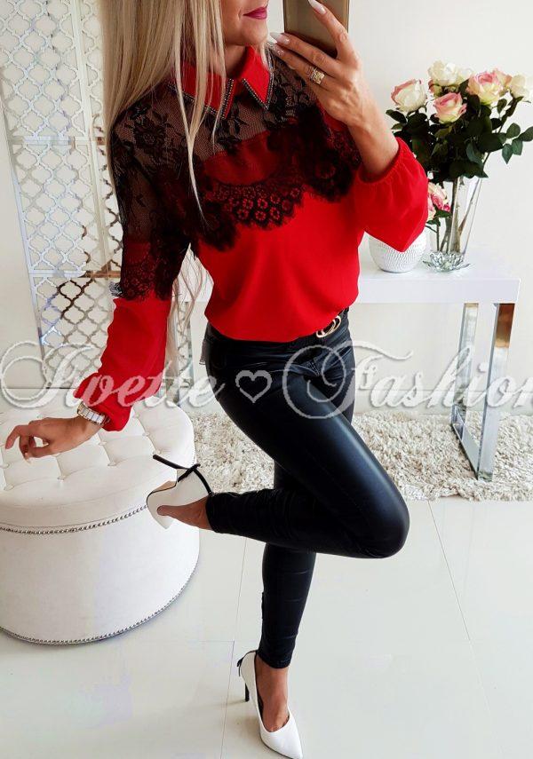 Elegancka Koszula z Koronką Red
