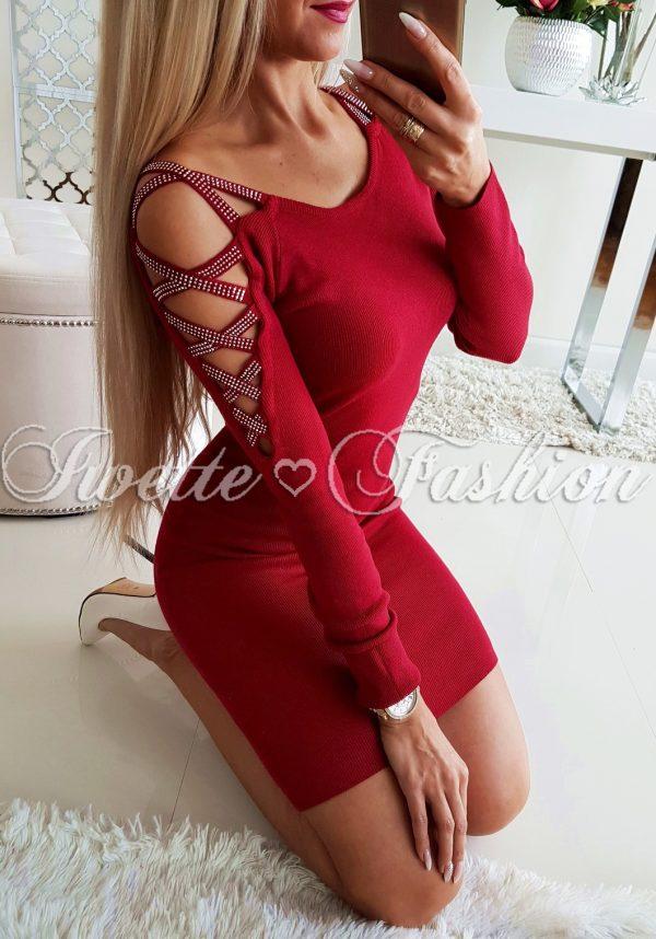 Sukienka Sweterkowa Pleciona Cyrkonie Bordo II♦