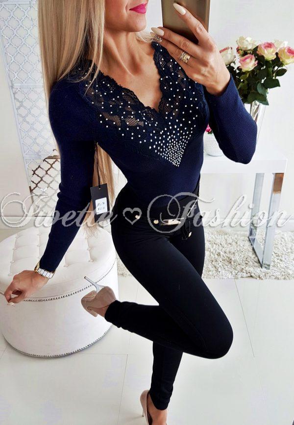 Body Sweterkowe z Cyrkoniami Granat