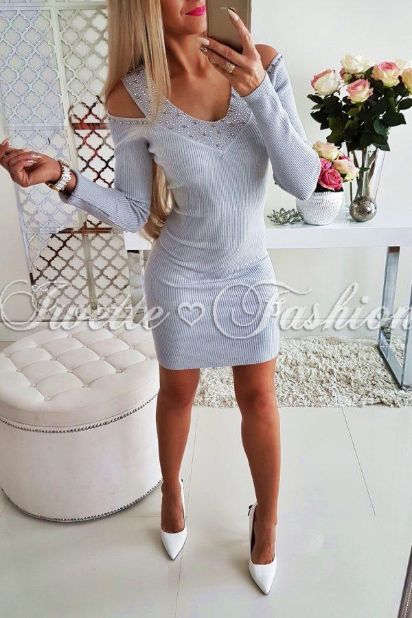 Sweterkowa Sukienka Gray Cyrkonie