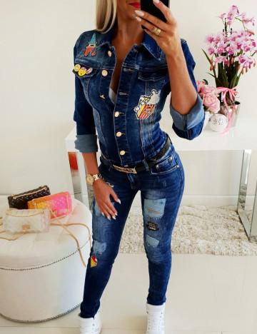 Jeansowy Kombinezon Naszywki Paris ♥