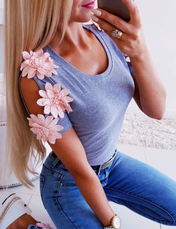 Bluzka Flowers Szara