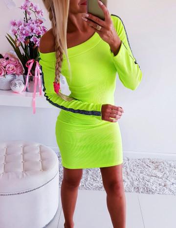 Sukienka Neon Yellow z Lampasem