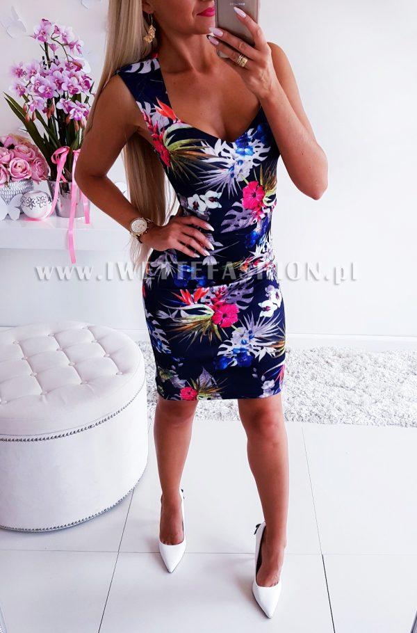 Sukienka Flowers Granat