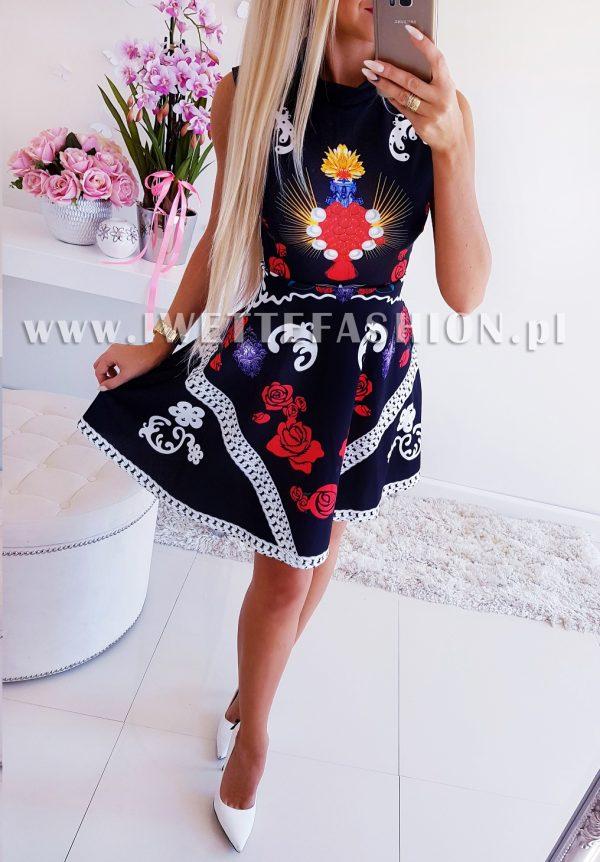 Sukienka Wzory Granat