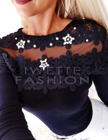 Sweterek Kwiaty Czerń