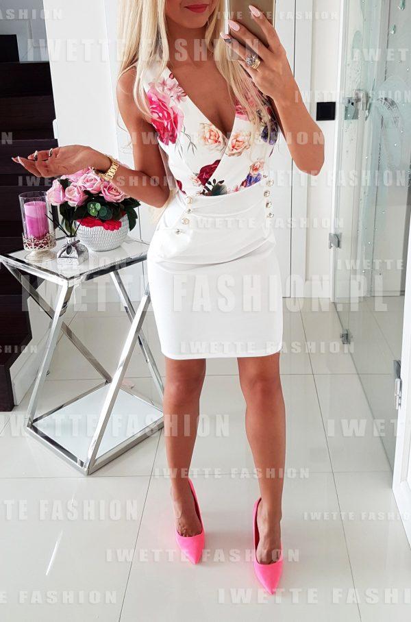 Sukienka Flowers Ecru